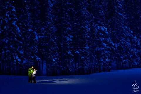 Bear Lake, Rocky Mountain National Park, Colorado Engagement Portrait at Night in the Snow.