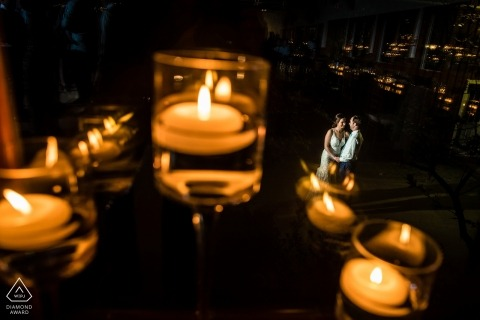 Alyson's Orchard, Walpole, NH | Engagement Portrait Among the candles and reflections...
