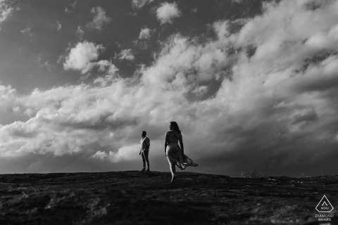 Black and white mountaintop portrait at Arabia Mountain, Georgia