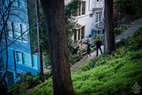 Telegraph Hill engagement shoot at a spot to frame the couple between the residences and Coit Tower in the surrounding area.