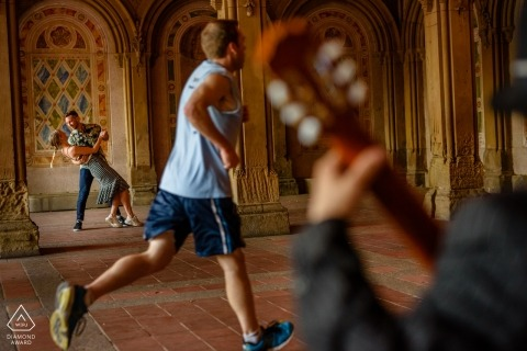 Central Park Dancing in Bethesda Terrace during Engagement Portrait Session