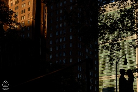 Couple's silhouette portrait in Tudor City Park