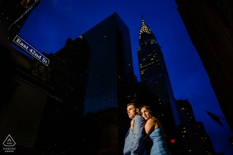 """Outside Grand Central Station Portrait Photographer: """"We came out right when the rain stopped. I knew I could still get the blue of the sky if I gelled. I did and this is the result."""""""
