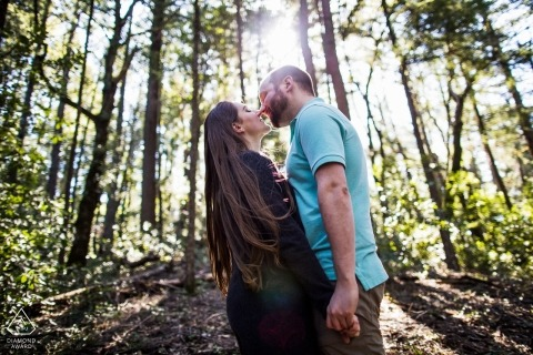 Engagement Portrait Kiss at Castle Rock State Park, Los Gatos