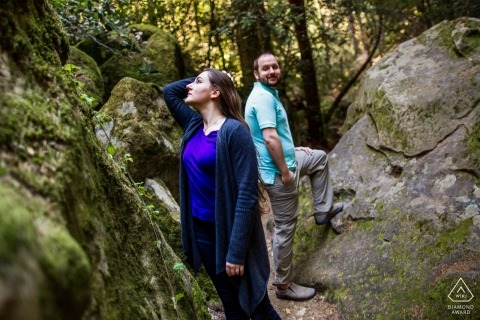 Castle Rock State Park, Los Gatos Engagement Portrait between the rocks