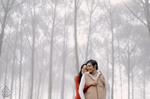Cartago, Costa Rica Engagement Shoot - Photographer Found some foggy woods to cuddle