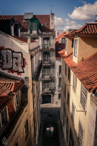 Lisbon Alfama district for overhead engagement portrait