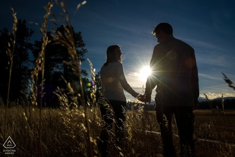 Alderfer/Three Sisters Park - Engaged couple silhouettes and sun