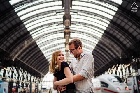Main Station Frankfurt - Couple Portrait Session for Engagement