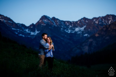 Colorado couple poses during their engagement at Piney River Ranch