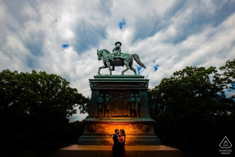 Washington DC Silhouette on a memorial during engagement photo session