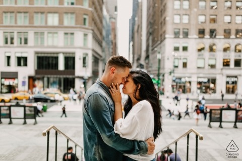 Engagement session on the urban streets of Manhattan, NYC