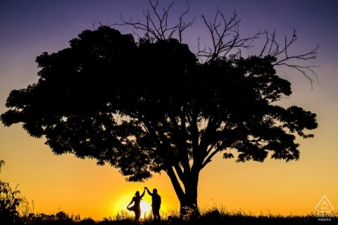Holambra Engagement Photo Shoot - Silhouet dansend portret bij de boom