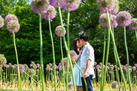 Boston Public Garden Engagement Shoot - The flowers are larger than the couple but small compared to their love.