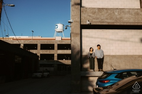 Downtown Los Angeles, California - Catching those last rays during afternoon engagement shoot.