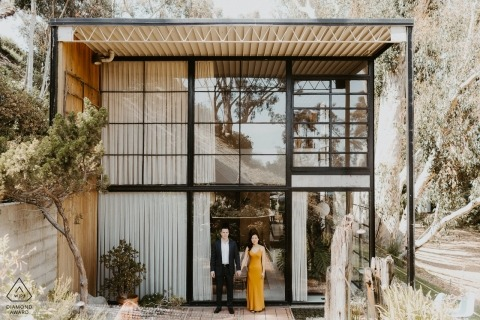 Eames House, Pacific Palisades Engagement Portraits - Architectural goodness with some cool cats!