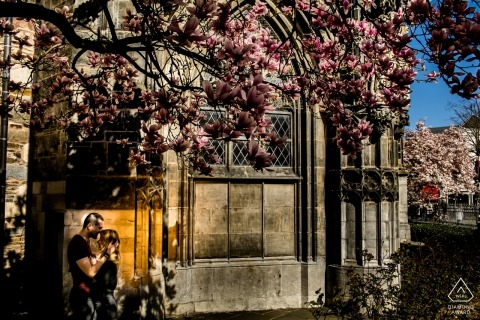 Aachen Town Hall, Aachen, Germany PreWedding Shoot - Couple hugging under the magnolia tree