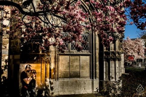 Hôtel de ville d'Aix-la-Chapelle, Aix-la-Chapelle, Allemagne Pousse de pré-mariage - Couple s'embrassant sous le magnolia