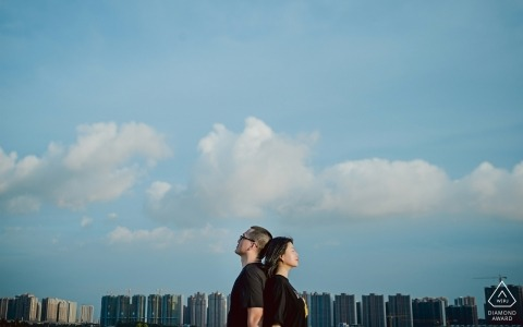 Tian'an Park Lovers Back to Back voor Pre Wedding Photo