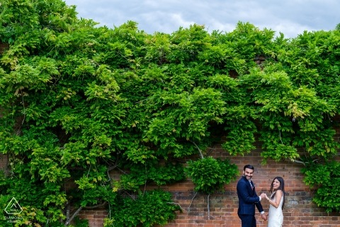 North Mymms Park Couple session against green wall of trees.
