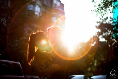 Boston engagement portrait with afternoon sun and lens flares