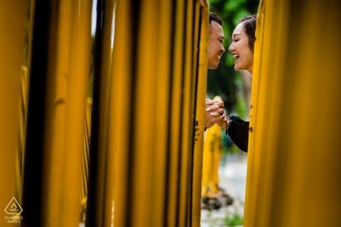 Singapore Engagement Portrait Shoot through barrier