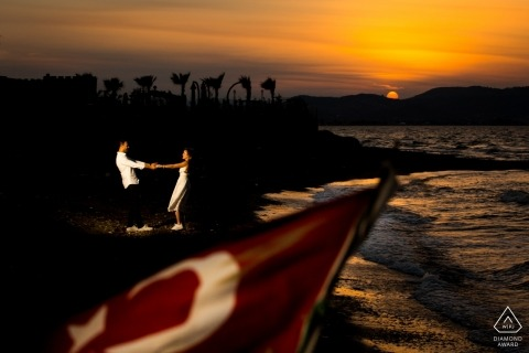 Izmir, Turkey Wedding Photographer - Turkish couple at beach sunset during engagement shoot