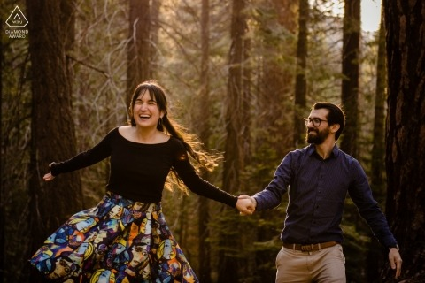 A playful engagement portrait at Yosemite National Park