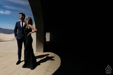 Cape Town engagement portrait of couple using shadow to create a contrast
