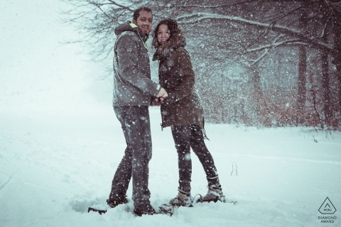 Baden Württemberg - Schwäbische Alb Engagement Portraits in the Snow