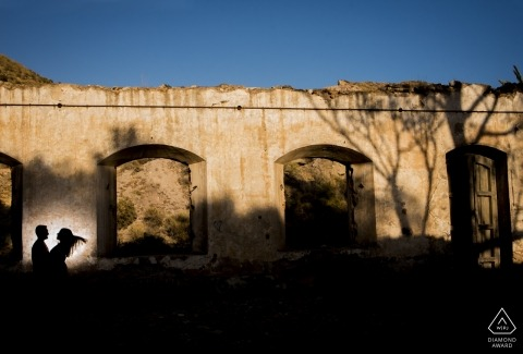 Shadows, sky and a couple during their Mazarron - Murcia photo session.