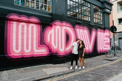 Shoreditch London Portraits - Love street art - Couple Engagement Session