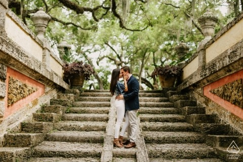 Engagement portraits with a couple at Vizcaya Museum, Miami, Florida