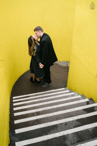 Southbank Centre, London, England Engagement Portraits on the Stairs with Yellow Walls