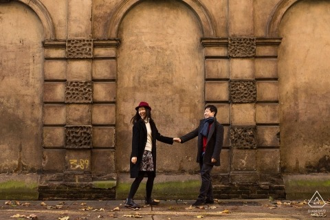 England PreWedding Portraits - Couple on London Streets Holding Hands