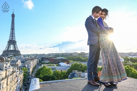 On a wild rooftop in Paris - Engagement Portrait Session