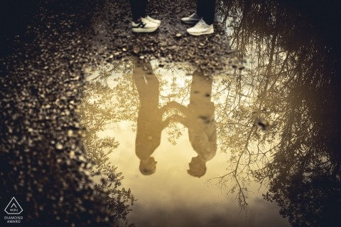 Genoa Reflection in Love Portrait Session using Water Puddle.