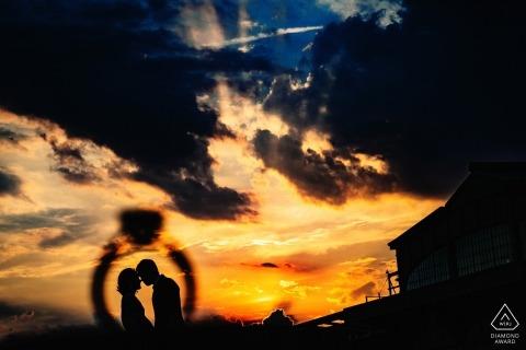 Liberty State Park, NJ - Portrait of couple through engagement ring