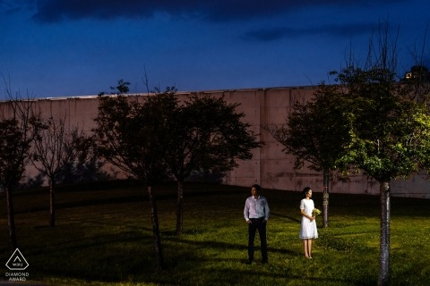Liberty State Park, NJ - Engaged couple standing for portraits