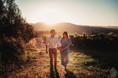 Vigna Maggio Resort | Portrait of a couple at the vineyards at the sunset during pre wedding photo session