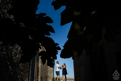 Castilla-La Mancha dancing couple pointed by two diagonal branches - Spain PreWedding Portraits