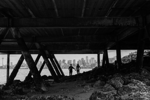 Seattle, Washington Couple Portraits - holding hands under dock