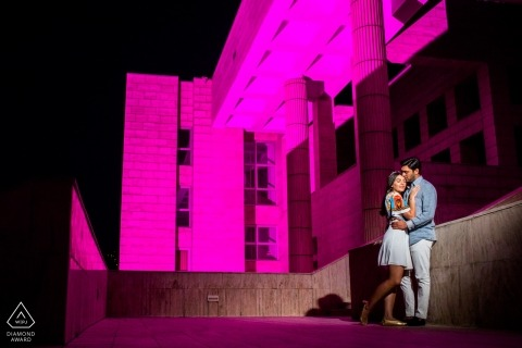 Bilkent Univ Main Campus, Ankara Portrait Session - Couple is standing on a building highlighted with purple