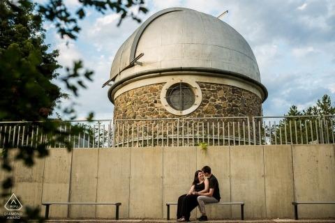 Hvězdárna a Planetáruim Brno Portrait Shoot with engaged couple under the dome