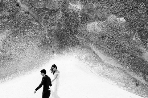 Cappodocia, Turkey | Portraits of engaged couple walking around the fairy chimneys