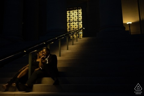 DC National Gallery of Art Engagement Photo Session - A couple on the steps at night