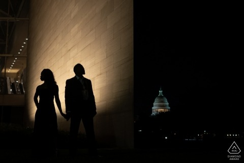 Washington DC National Gallery of Art - silhouette couple portraits at night for engagement