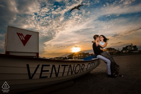 "Ventnor City Beach New Jersey Pre Wedding Photographer --  ""I waited for these birds that kept flying by to get the perfect shot."""