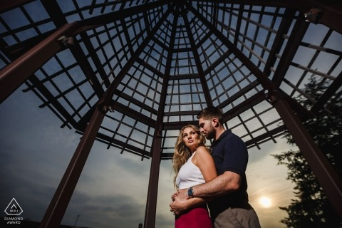 """The sky was nice in the background and we loved what looked like a spider web."" - The Waterworks, Philadelphia engagement photographer"