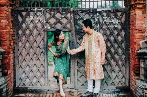 Bardgang, Nepal PreWedding PhotoShoot | Couple at the door of the local old elementary school.